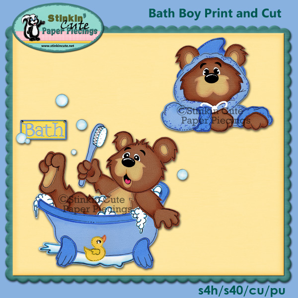 (S) Bath Boy Bear Print and Cut