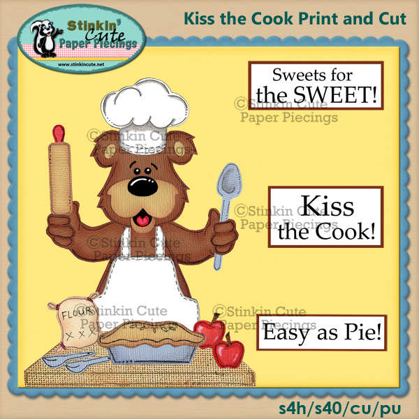 Kiss the cook bear Print & Cut