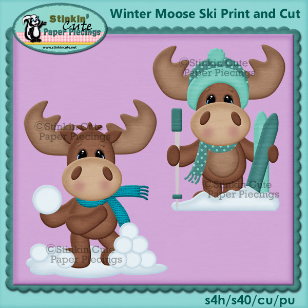 (S) Winter moose Skiing Print and Cut
