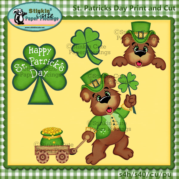 (S) St. Patricks Day Bear Print and Cut