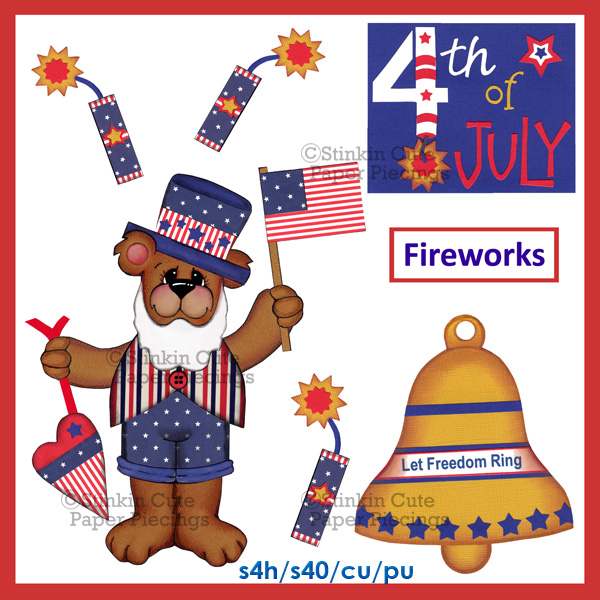 (S) 4th of July Bear Print and Cut