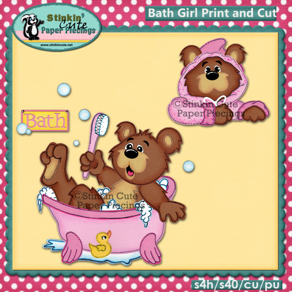 (S) Bath Girl Bear Print and Cut