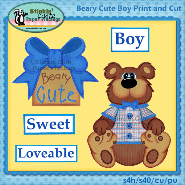 (S) Beary Cute Bear (Boy) Print and Cut