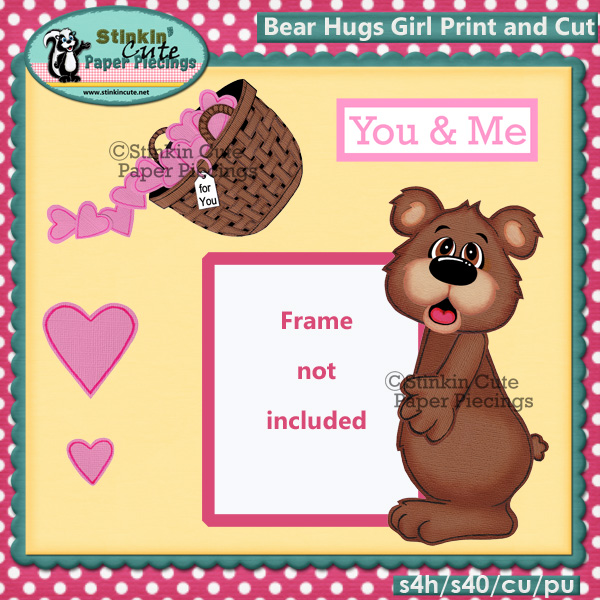 (S) Bear Hugs (Girl) Print and Cut