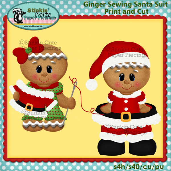 Gingers Sewing Santa Suit Print & Cut