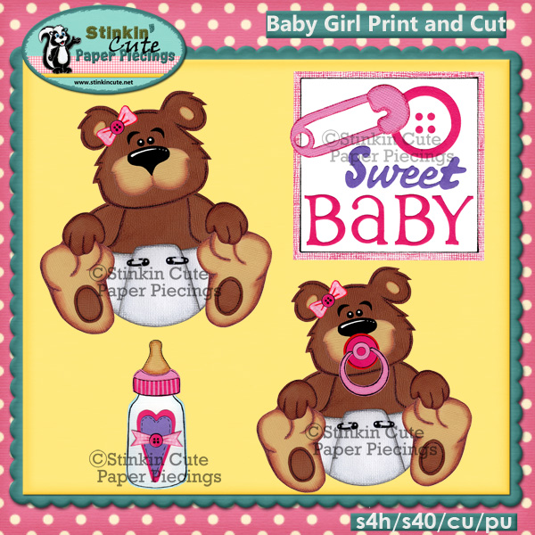 (S) Baby Girl Bear Print and Cut