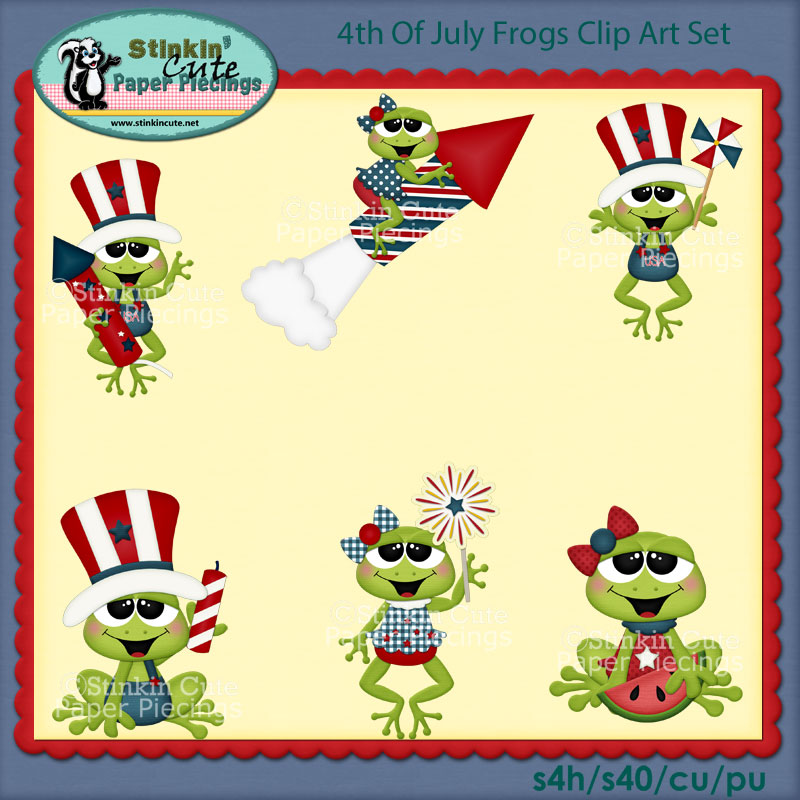 4th Of July Frogs Clip Art Set