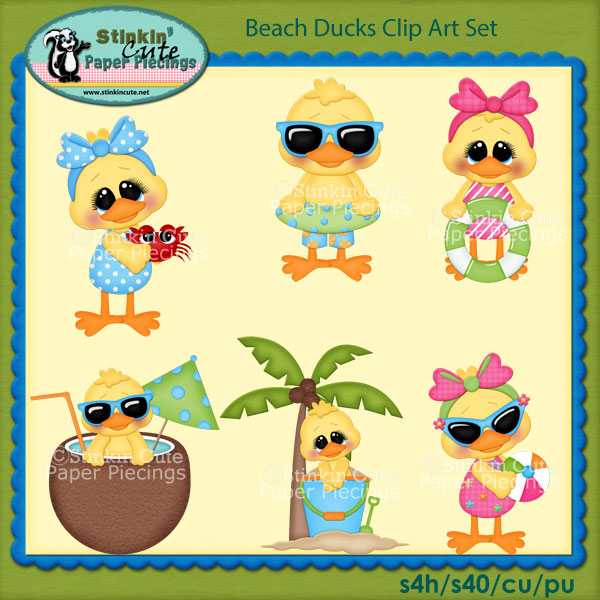 Beach Ducks Clip Art Set