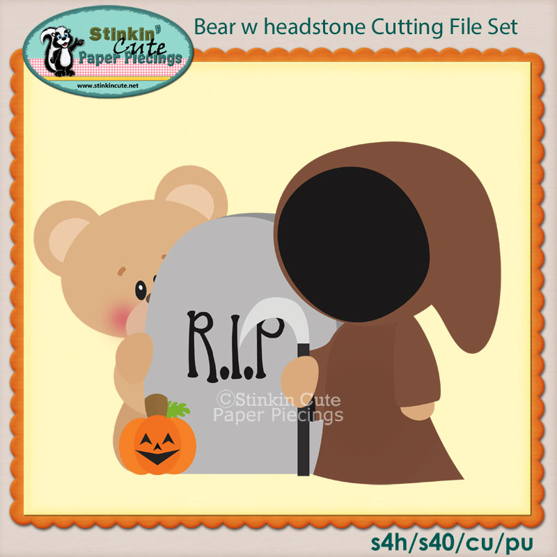Bear w headstone Cutting File Set