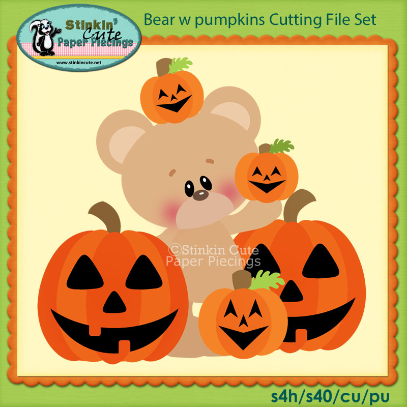 Bear w pumpkins Cutting File Set