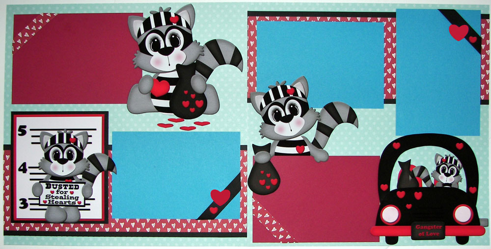Busted for Stealing Hearts Racoons Page Kit