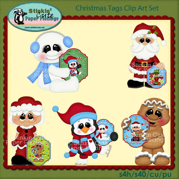Christmas Tags Clip Art Set
