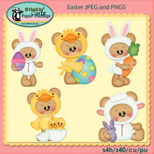 Easter Bear Clip Art Set