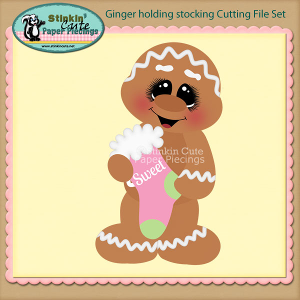 Ginger holding stocking Cutting File Set