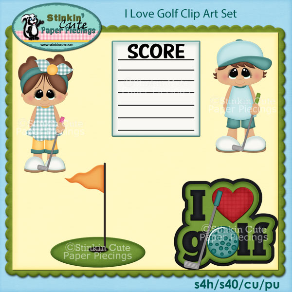 I love Golf Clip Art Set