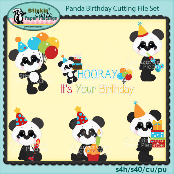 Panda Birthday Cutting File Set