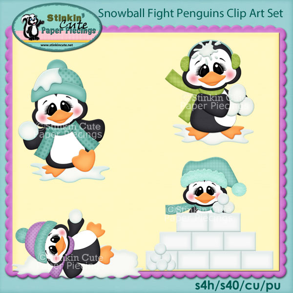 Snowball Fight Penguins Clip Art Set