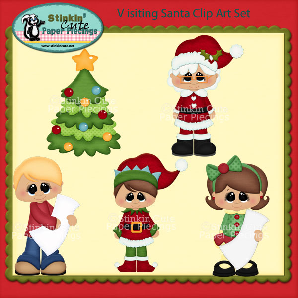 Visiting Santa Clip Art Set