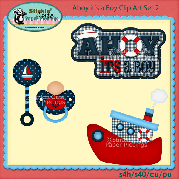 Ahoy It's a Boy Clip Art Set 2