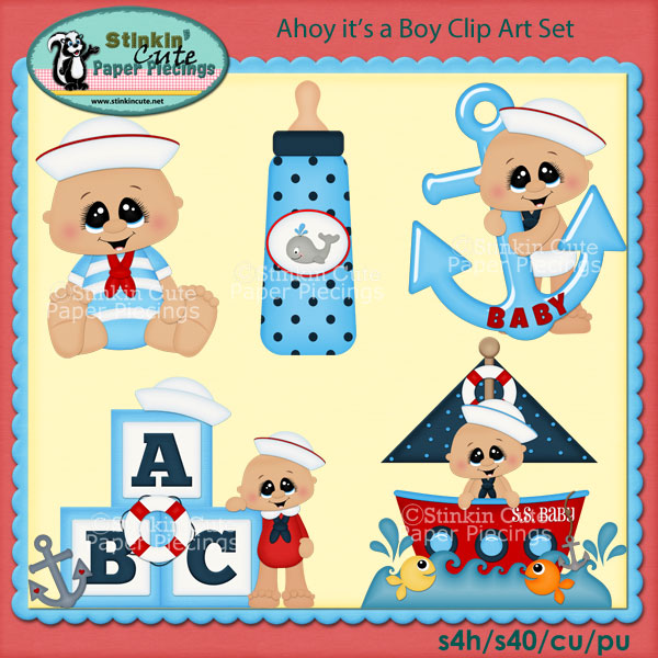 Ahoy It's a Boy Clip Art Set