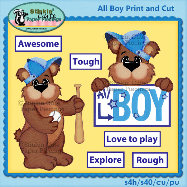 All boy bear Print & Cut
