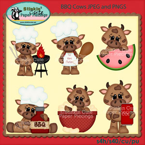 BBQ Cows Clip Art Set