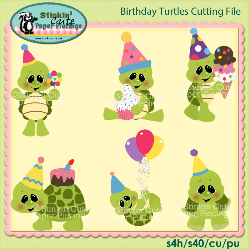 Birthday Turtles Cutting File Set