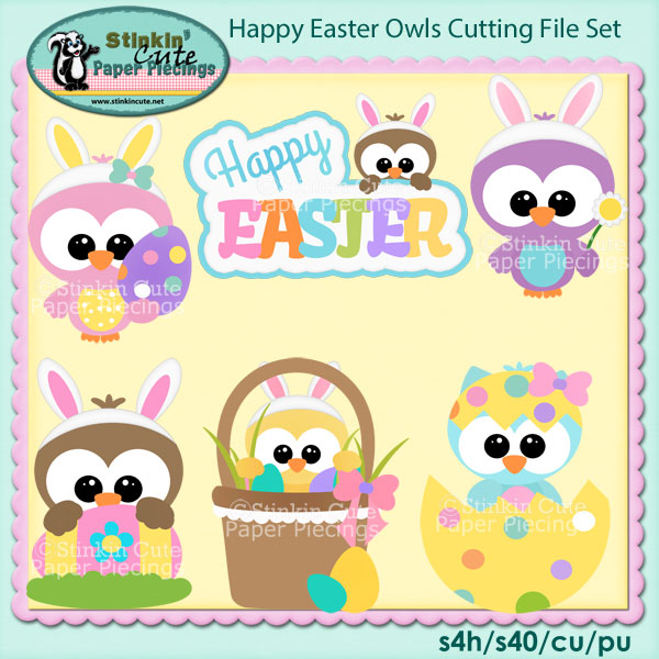 Happy Easter Owls Cutting File Set