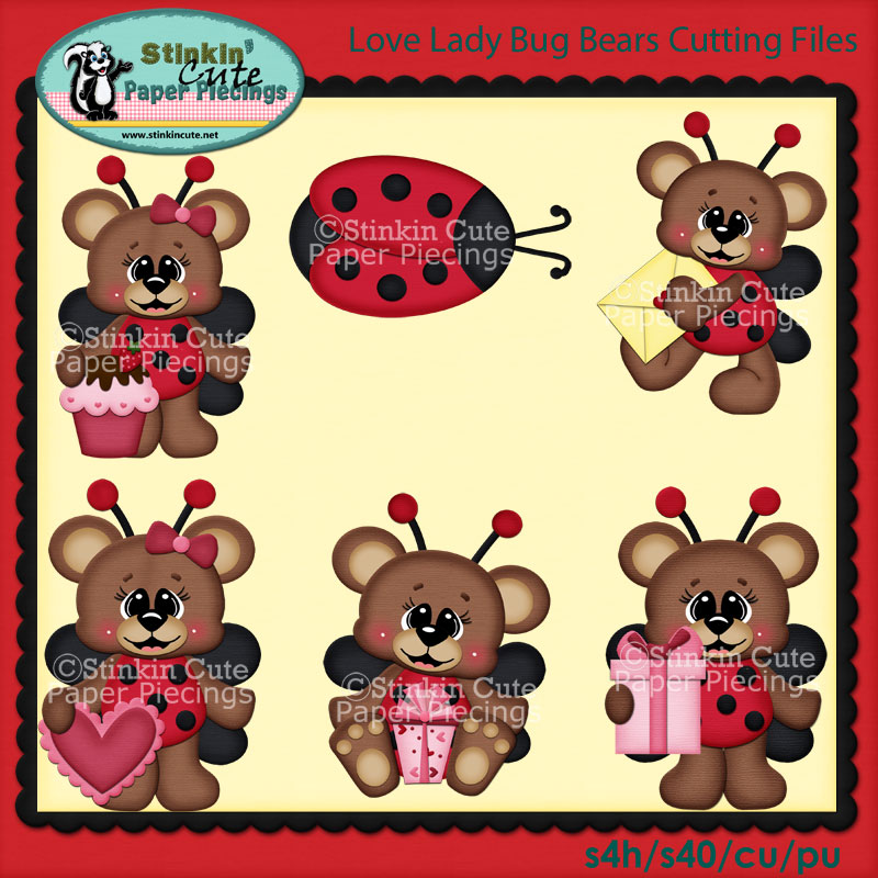 Love Lady Bug Bears Cutting File Set