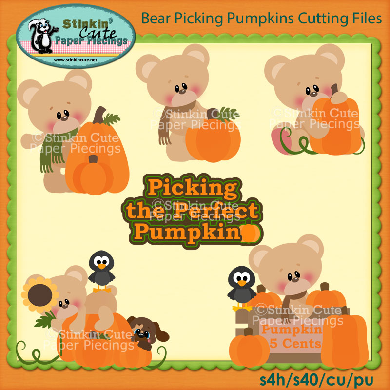 Bear Picking Pumpkins Cutting File Set
