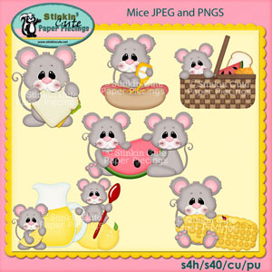 Picnic Mice Clip Art Set