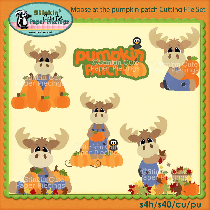 Moose at the pumpkin patch Cutting File Set