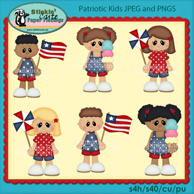 Patriotic Kids Clip Art Set