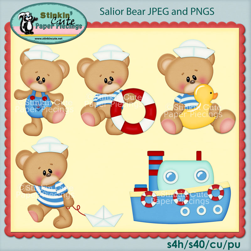 Salior Bears Clip Art Set