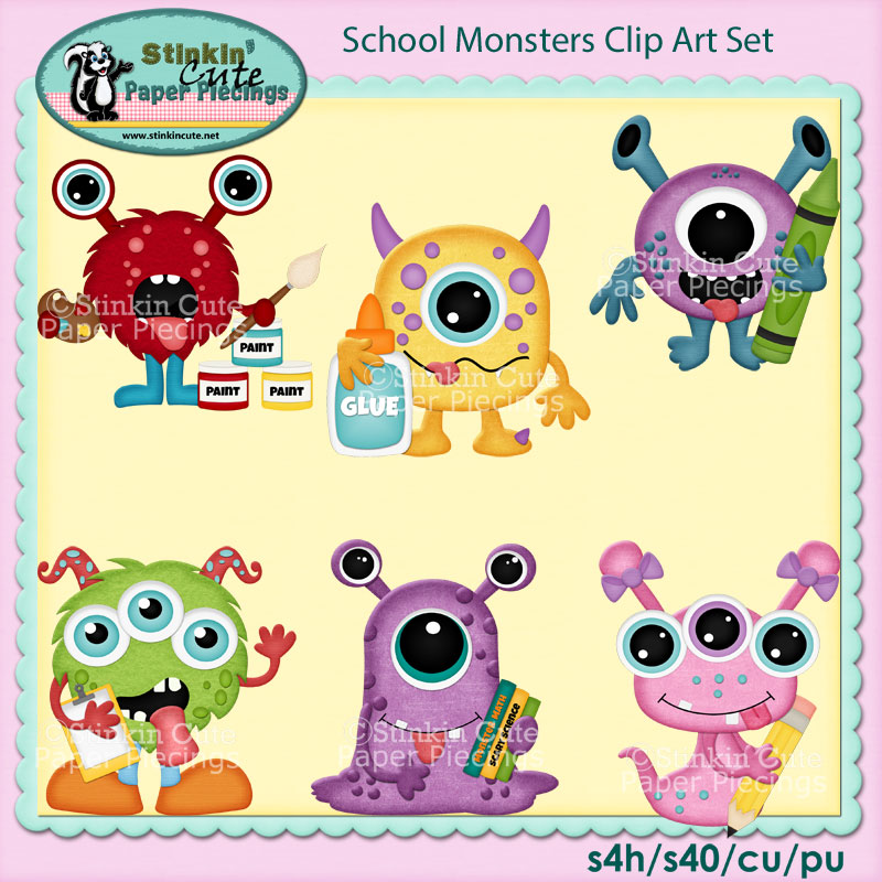 School Monsters Clip Art Set