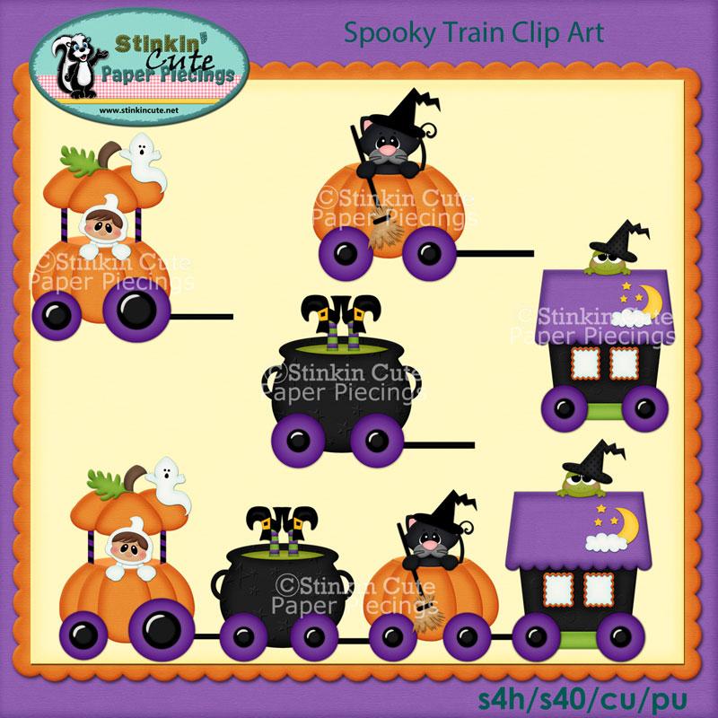 Spooky Train Clip Art Set