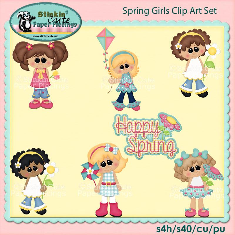 Spring Girls Clip Art Set