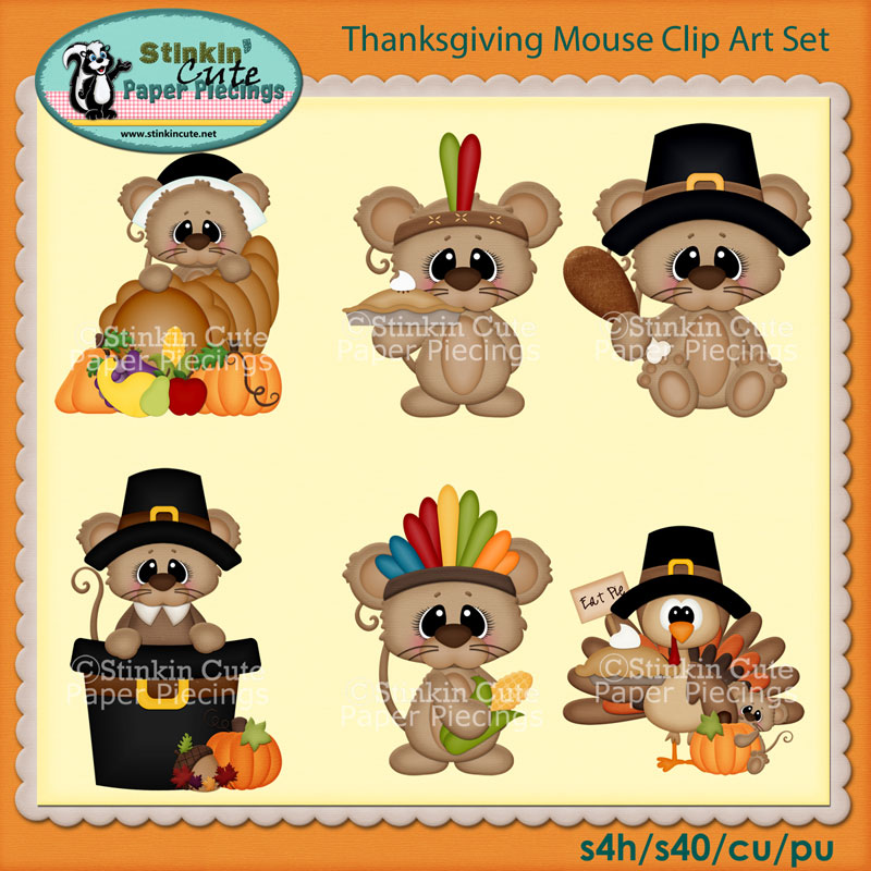 Thanksgiving Mouse Clip Art Set
