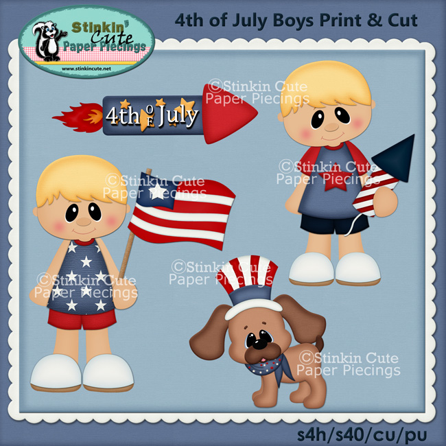 Patriotic Blonde Boys Print & Cut