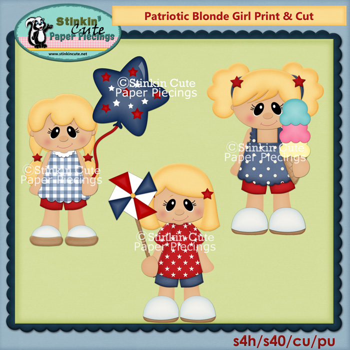Patriotic Blonde Girls Print & Cut