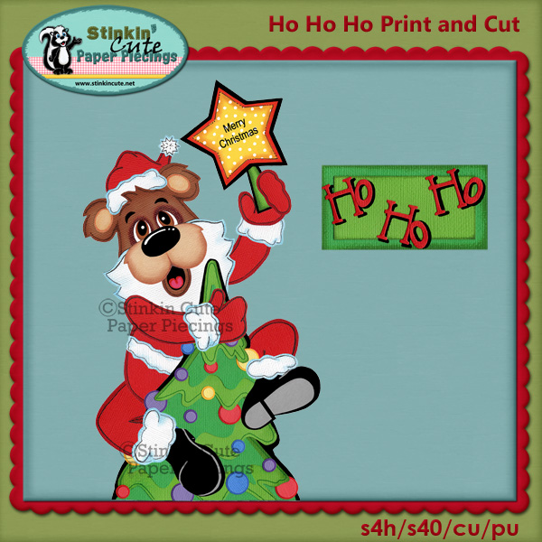 (S) Ho Ho Ho Santa Bear Print and Cut