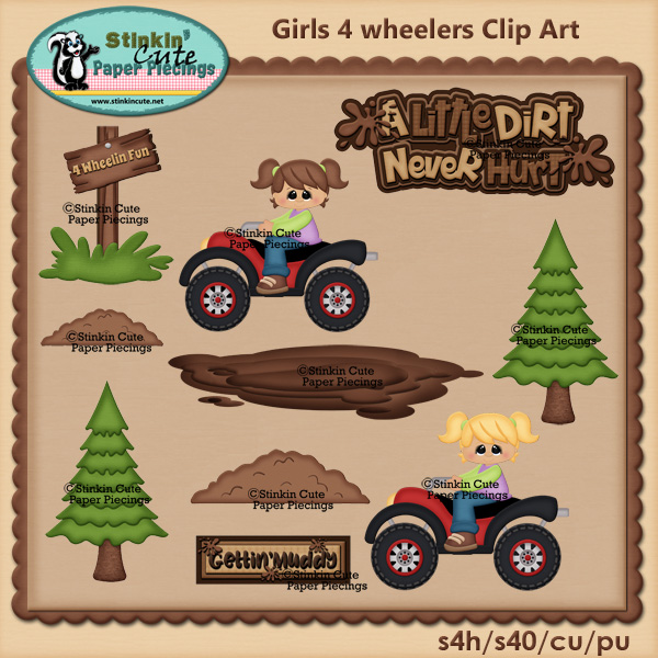 Girls 4 Wheeler fun Clip art