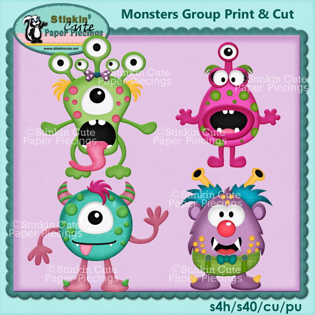 monsters group print cut printable printables cuttable halloween kids boys girls scrapbooking scrapbooks crafts cards - Monster Pictures For Kids To Print