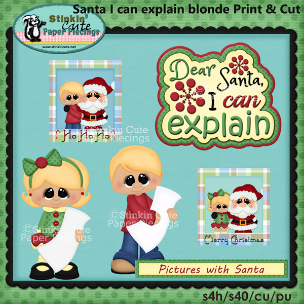 Pictures with Santa Blonde Print and Cut