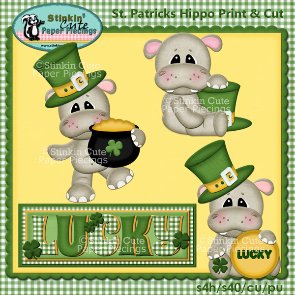 St. Patricks Hippos Print & Cut
