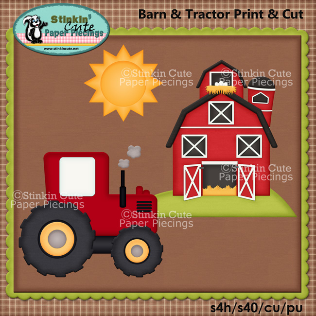 (S) Barn and Tractor Print and Cut