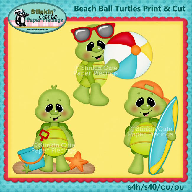 (S) Beach turtles Print and Cut