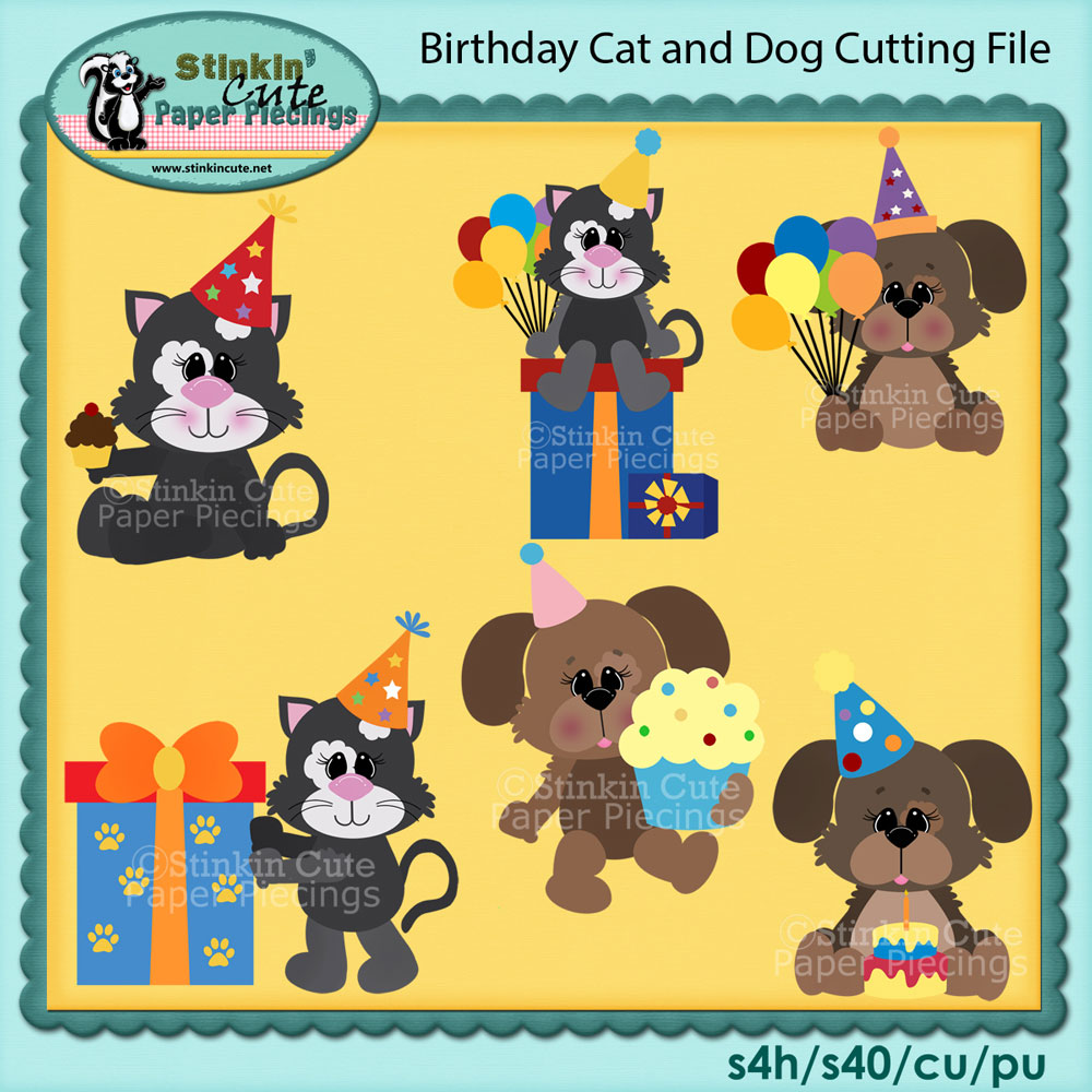 Birthday Cat and Dog Cutting File Set
