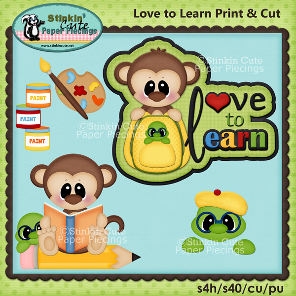 (S) Love to Learn Monkeys Print and Cut