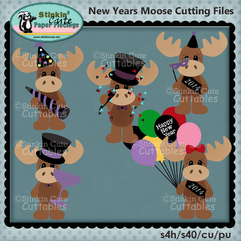 New Years Moose Cutting File Set